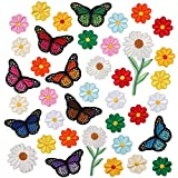 Bling World 39PCS Butterfly Iron On Patches, Applique Patches Flowers and Butterflies Iron On Decorative Patches for Clothing, Jackets, Jeans, Bags, Caps, DIY Decorations, Art Craft Sew Making