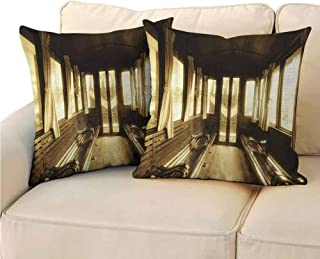 QIAOQIAOLO Pack of 2 Sofa Hug Pillowcase Retro Antique Decor Double-Sided Printing 20x20 inch Vintage Train Salon Inside Historic Transport Windows with Curtains Arched Ceiling Light Brown