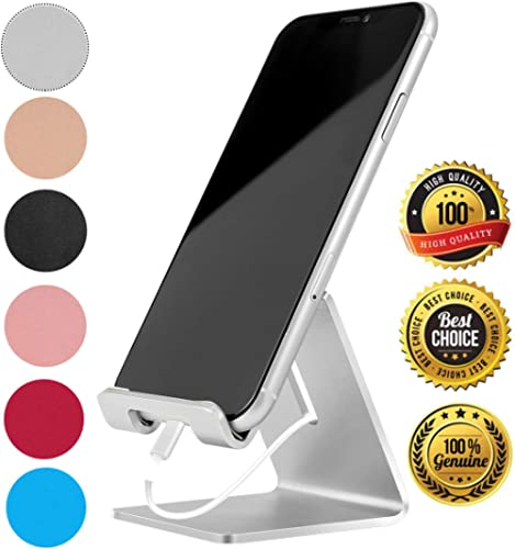 Desk Cell Phone Stand Holder Aluminum Phone Dock Cradle Compatible with Switch, All Android Smartphone, for iPhone 11 Pro Xs Xs Max Xr X 8 7 6 6s Plus 5 5s 5c Charging, Accessories Desk (Silver) product image
