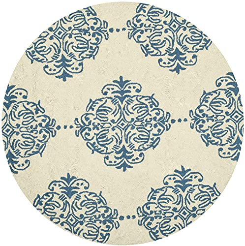 Safavieh Chelsea Collection HK145A Hand-Hooked French Country Wool Area Rug, 3' x 3' Round, Ivory / Blue