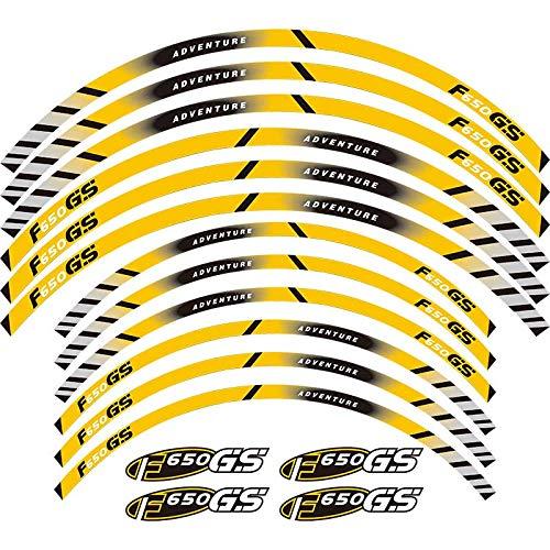 Calcomanías de la Rueda de la Motocicleta Pegatinas Reflectantes Riadas de llanta para BMW F650GS Adventure 19''17 '' F650 GS F650 Pegatinas para Moto (Color : 2)