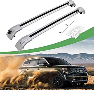 SnailAuto Fit for Kia Telluride 2019 2020 Lockable Cross Bars Roof Rail Rack Luggage Helper (Silver)