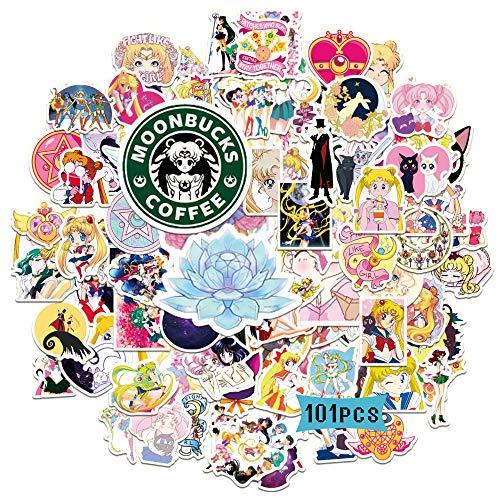 Reanime Sailor Moon Stickers 101PCS Anime Decals for Girl Classic Manga Vinyl for Skateboard Scrapbook Fridge Car Bike Cute Sticker Pack