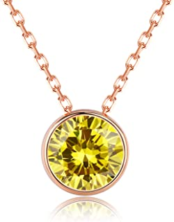 December Birthstone Necklace 14k Gold Plated Sterling Silver 1.00 ct CZ Created Birthstone Necklaces for Women Girls Birthday Gifts for Her