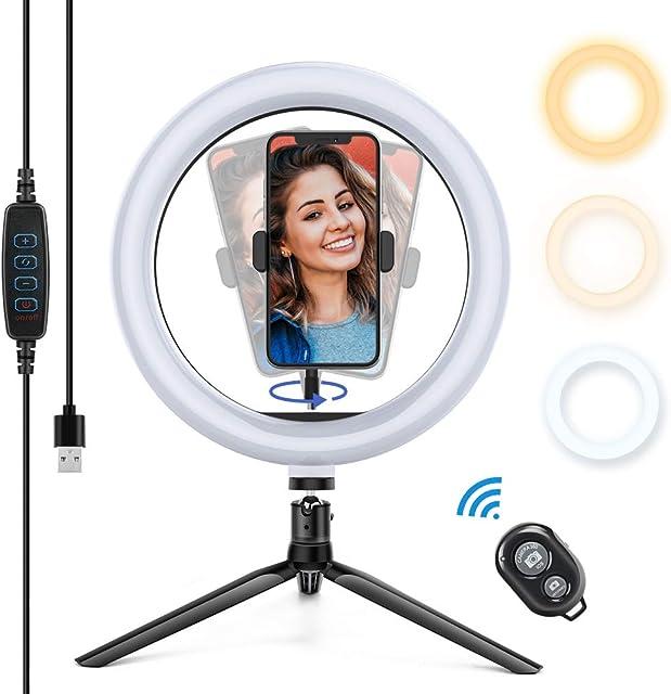 Yoozon Luz de Anillo LED 10 fotográfica de Escritorio 3 Colores 10 Brillos Regulables Control Remoto Bluetooth Trípode con Soporte Giratorio de teléfono para Selfie Maquillaje Youtube TIK Tok
