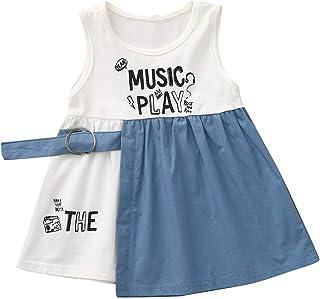 a3588d82ba1 Jupe Princesse Bebe Filles Tenues ete ABsoar Enfant Manche Courte  Impression de Lettre Robe à Coutures