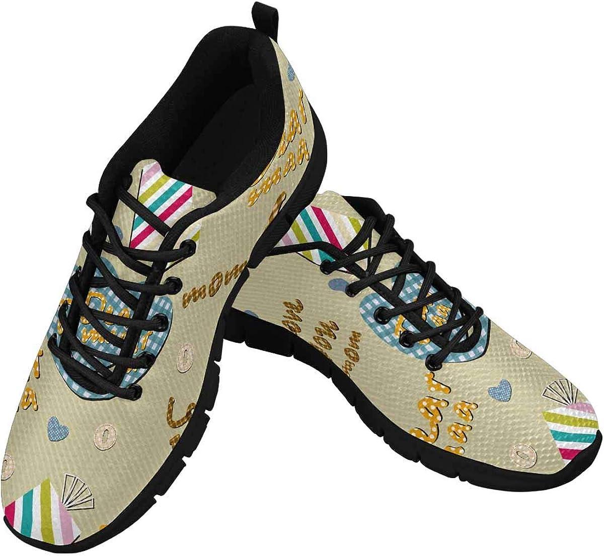 INTERESTPRINT Hearts Pattern Lightweight Mesh Breathable Sneakers for Women