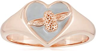 Olivia Burton Women's Love Bug Signet Gray & Rose Gold Ring - OBJLHR12B