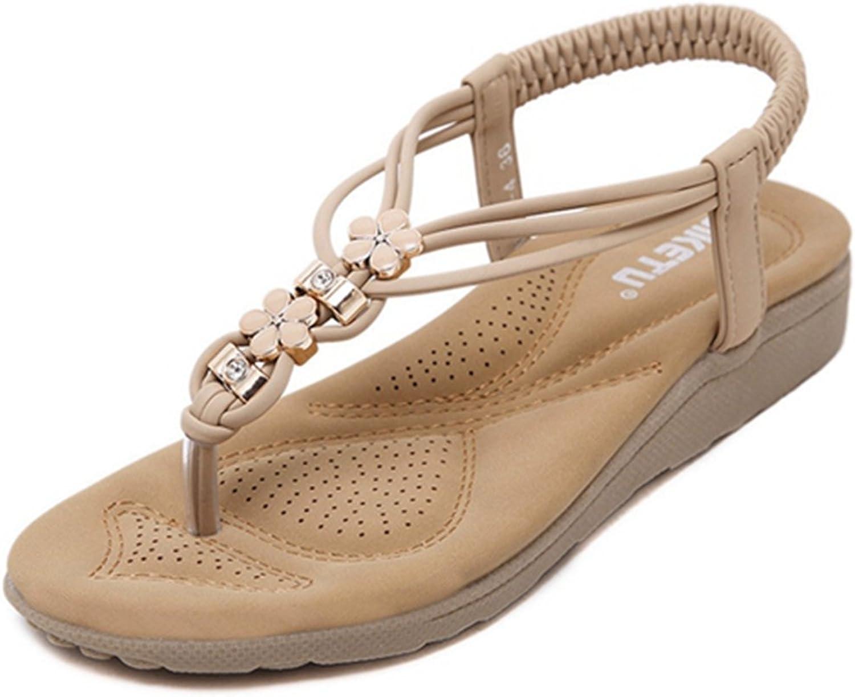 Zarbrina Women Bohemia Flat Sandals Summer Beach Glitter Beads Elastic Flip-Flop Outdoor Ankle Leisure shoes
