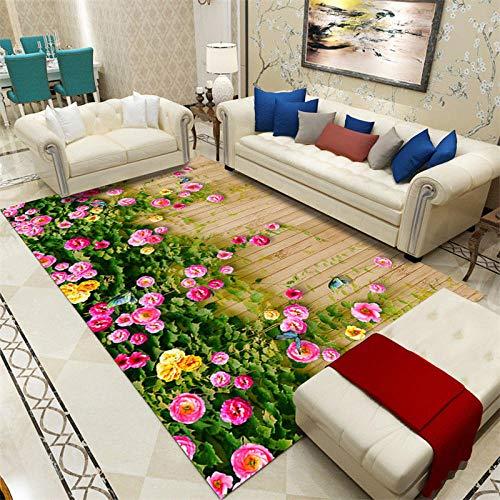 CCTYJ Pflegeleichter Teppich Quadratischer Wohnzimmerteppich Rosa Rasen grüner Rasen kreative Mode Wohnzimmer Sofa Couchtisch Lounge dekorativen Teppich-60x90cm
