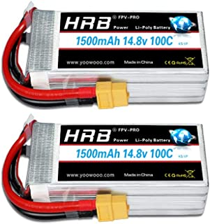 HRB 4S 14.8V 1500mAh 100C Lipo Battery with XT60 Plug for FPV Racing RC Quadcopter Helicopter Airplane Multi-Motor Hobby DIY Parts (2packs)