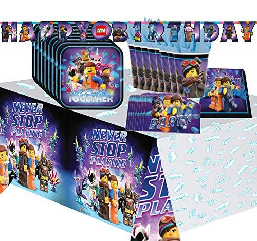 Krause & Sohn Party-Set Kindergeburtstag viele Teile Geschirr Geburtstag Dekoration Geburtstagstisch (Lego)