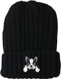 [ Boston Terrier ] Cute Embroidered Puppy Dog Warm Knit Fleece Winter Beanie Skull Cap
