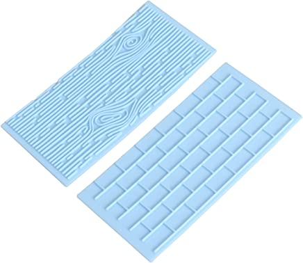 BESTONZON 2pcs Tree Bark and Brick Wall Impression Mat Textured Fondant Cake Press Mould Cake Supplies