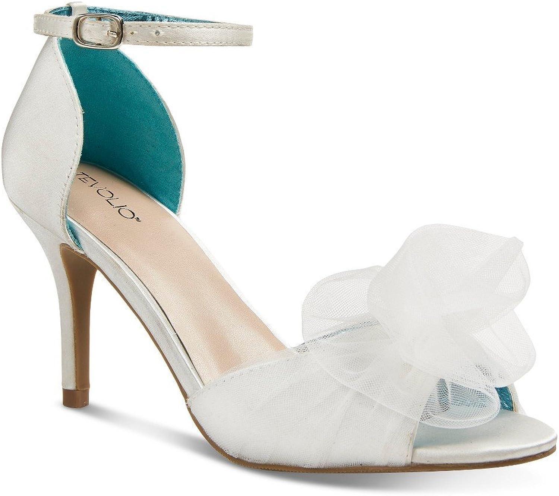 Tevolio Women's Rylan Tulle Front Two Piece Heels - White Almond Cream (9)