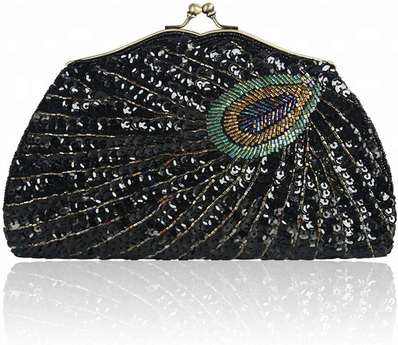 Mkulxina damen Vintage Style Perlen Hochzeit Party Handtasche (Farbe   schwarz) B07Q7ZMZ7Z  ein guter Ruf in der Welt