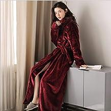 Dames Badjas,Nachtjurk winter verdikt laies flanellen badjas thuis service uitgebreid lange ochtend badjas slaapkleding, W...