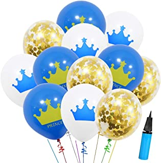 36 Pcs Birthday Party Royal Blue Crown Pattern and Gold Confetti Balloons for Kids Birthday Party, Baby Shower, Festival Party Decorations (Prince Crown Balloons)