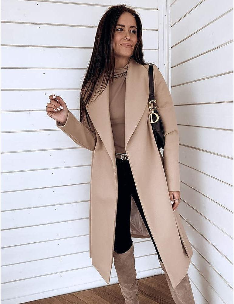 Starstreetcom Damen Wollmischung Overcoat Langarm Umlegekragen Übergröße Warm Wolle Lange Mantel Jacken mit Gürtel Beige
