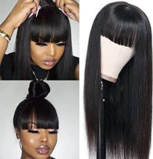 Silky Straight Human Hair Wigs with Bangs None Lace Front Wigs for Black Women 100% Unprocessed Brazilian Virgin Human Hai...