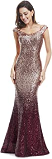 Women Sparkling Gradual Champagne Gold Sequin Mermaid Cap Sleeves Evening Dress Prom Dress 08999