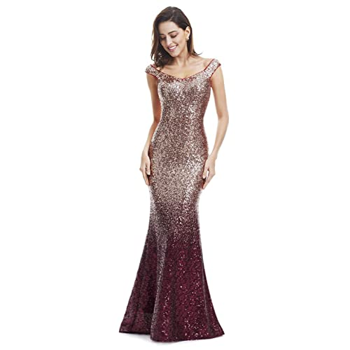 b6699bc9e91a Ever-Pretty Women Sparkling Gradual Champagne Gold Sequin Mermaid Cap Sleeves  Evening Dress Prom Dress
