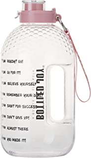 BOTTLED JOY Half Gallon Water Bottle with Straw Lid, BPA Free 75oz Large Water Bottle Hydration with Motivational Time Mar...