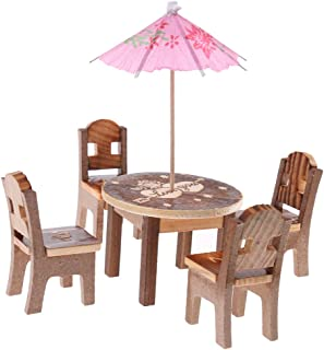 MagiDeal 6 Pieces Play House Toy Wooden Dining Table Chair Kitchen Furniture Set Developmental Role Play Pretend Game Props