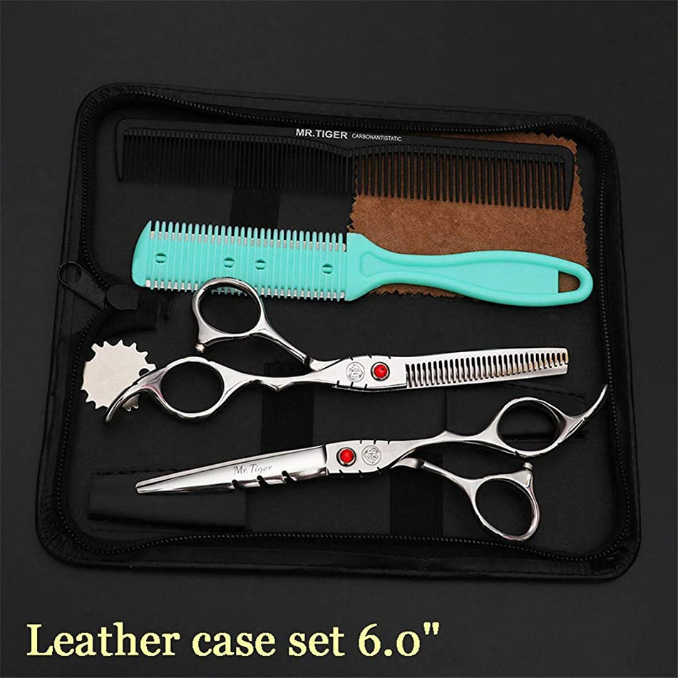 Steel Professional Hairdressing Scissors Hair Professional Barber Scissors Set Hair Cutting Shears Scissor Haircut leather case set2