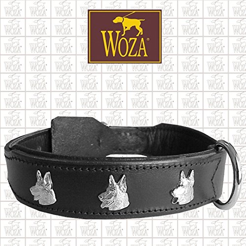 Woza Exclusive HUNDEHALSBAND 3,8/60CM SCHÄFERHUND Vollleder Lasche SATTLERNAHT RINDNAPPA Handmade Collar