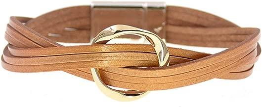 18 Colors Charm Leather Bracelets for Women & Men Multiple Layers wrap Bracelets Couple Gifts Fashion Jewelry,Gold,20cm