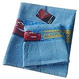 Disney SPGN3001052 Asciugamano e Ospite con Bordo Stampato, 100% Cotone, Blu, 29x24x2.5 cm