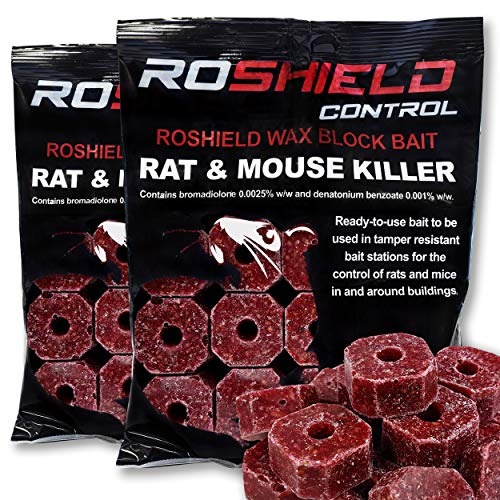 Roshield 600g Wax Block Bait for Rat & Mouse Killer Poison Control (300g x 2 Packs)
