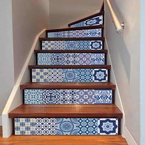 Elaco Wall Stickers, DIY Steps Sticker Removable Stair Sticker Home Decor Ceramic Tiles Patterns (B)