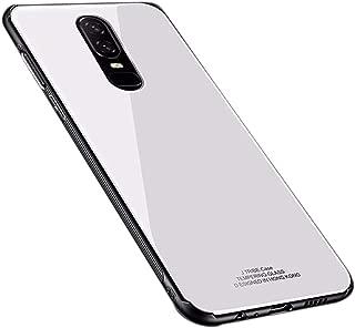 UNIYA OnePlus 6 Case, Slim Fit Tempered Glass Back +Soft TPU Bumper Scratch Resistant Case