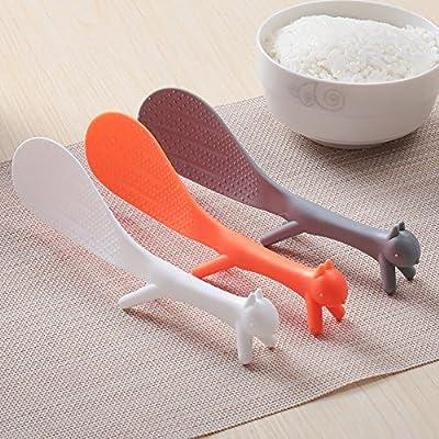 NUOMI Rice Paddle Spoons Scooper Plastic Non-Stick Squirrel Shaped Spoon Set of 3, White/Orange/Grey