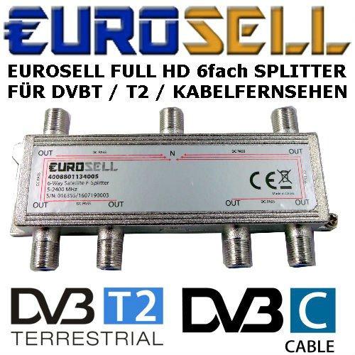 Eurosell - Digitaler 6-fach SAT Antennen Kabel TV BK Verteiler Splitter HDTV 6fach F Verteiler Fernsehen Fernseher Full HD Switch 6er sechser sechsfach Weiche Umschalter F-Stecker Stammleitungsverteiler