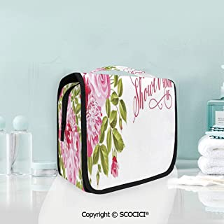 SCOCICI Travel Hanging Wash Bag Kit Shabby Chic Flowers Roses Buds and Leav