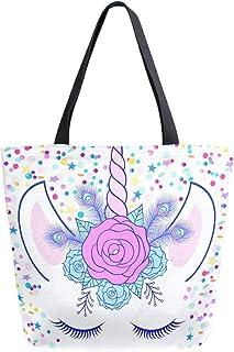 Mnsruu Canvas Handtasche Schultertasche, Frauen Griff Einkaufen Crossbody Tasche, Creme Magic Unicorn Floral Tote Casual Strand Multifunktionstasche für Damen Frauen