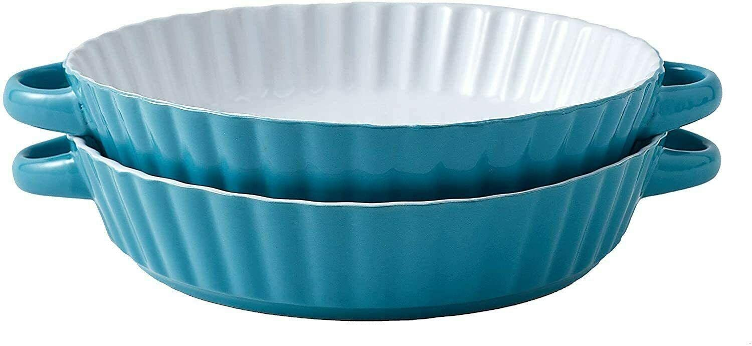 Ceramic Bakeware Set of 2 Round Pie Special price for a limited time Ranking TOP16 9.5 Tart Pan Inch T Dish