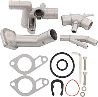 NewYall Cast Aluminum Thermostat Housing Cover Coolant Flange Cooling Hose Water Distribution Pipe Upgrade Kit