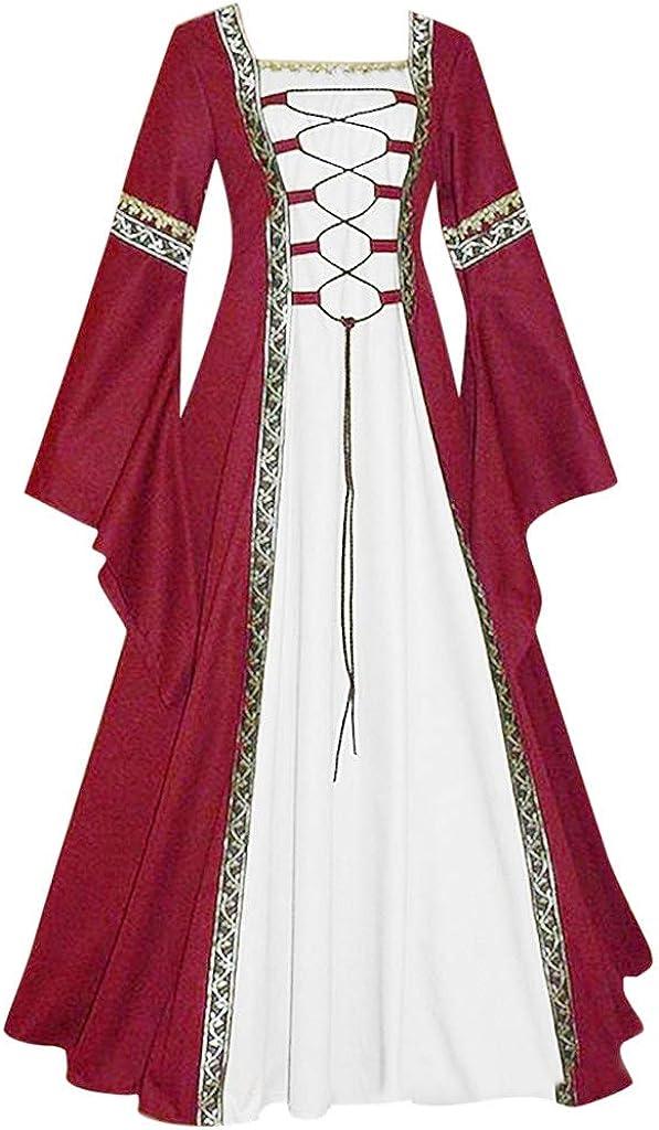 DFHYAR Women's Vintage Renaissance Dress Bell Sleeve Boatneck shopping Atlanta Mall Pl
