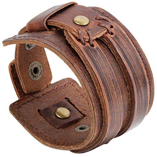 JewelryWe Schmuck Herren Armband, Punk Rock Schweißband Armreif 24.7cm, Leder Legierung, Schwarz Kaffee (braun)