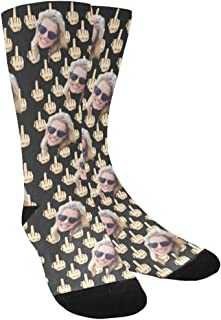 Sponsored Ad - Custom Face Socks with Middle Finger, Your Photo on Socks for Men Women, Personalized Photo Pet Face Crew S...