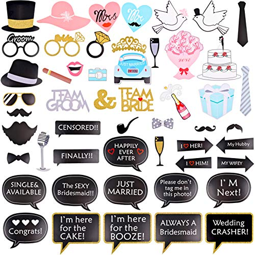 Ushinemi Wedding Photo Booth Props, Photobooth Wedding Party Props Engagement Party Decorations, 52pcs