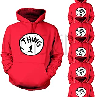 U DESIGN IT Thing 1 and 2 Hoodie 1,2,3,4,5,6 Funny Sweatshirt Pullover, Unisex Adults and Youth
