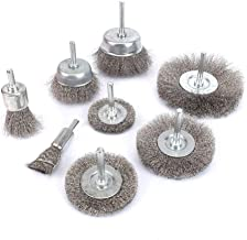 8Pcs Stainless Steel Wire Brushes Wheel kit for Drill with 1/4