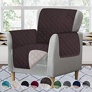RHF Reversible Chair Cover, Chair Cover, Chair Cover for Dogs, Pet Cover for Chair, Chair Slipcover, Chair Protector, Machine Washable, Double Diamond Quilted(Chair:Chocolate/Beige)