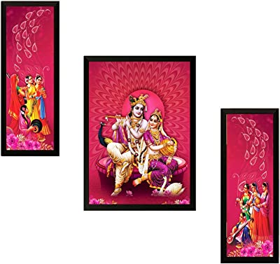 SAF UV Textured Radha Krishna Printed Print Framed Painting Set of 3 for Home Decoration – Size 35 x 2 x 50 cm SANFSA7737