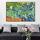 Van Gogh Pintura famosa Iris Flores Lienzos Reproducciones de pinturas Arte impresionista Decoración Cuadros de pared para sala de estar 80x130cm (32x51in) Marco interior